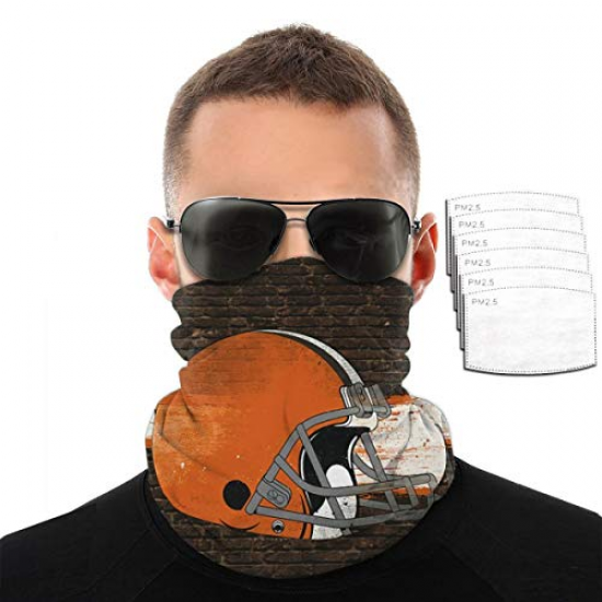Breathable Scarf Bandana Microfiber Neck Unisex Cleveland Browns Half Balaclava hat, Outdoor Multi-Functional Square Square Scarf with Filter for NFL Team Cleveland Browns Orange,White,Gray,Brown