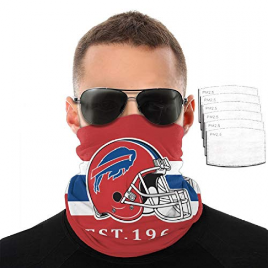 Seamless Face Scarf Breathable Bandana Headbands with Filters dust-Proof Anti-Spray Protection for Women Men for NFL Team Buffalo Bills Pink,Navy blue,White,Black,Red